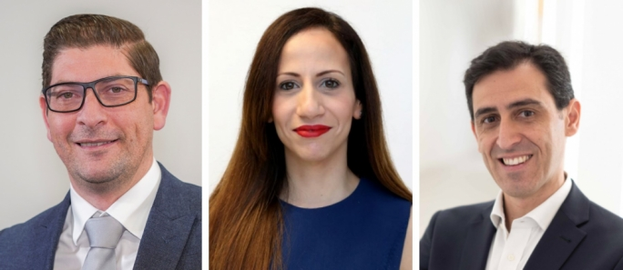The speakers of FinanceMalta's upcoming webinar (from left): Rudolph Psaila, Melanie Pace and Mirko Rapa