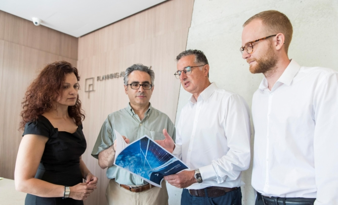 Perit Joseph Scalpello, Planning Authority's Assistant Director (second from left) with Ing Mario Schembri AIS's Managing Director. Also in photo Michelle Borg PA's Unit Manager and Sacha Dunlop, Departmental Head at AIS