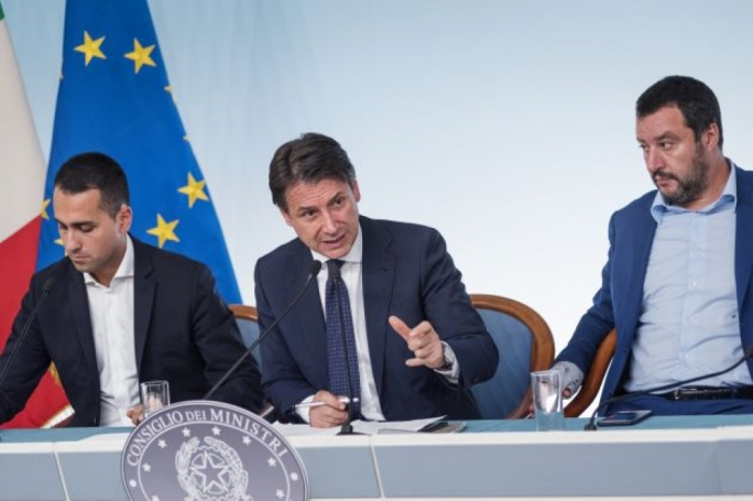 From left: Italy's Deputy Prime Minister and Minister of Economic Development, Labour and Social Policies, Luigi Di Maio, Italy's Prime Minister, Giuseppe Conte and Italy's Deputy Prime Minister and Interior Minister, Matteo Salvini