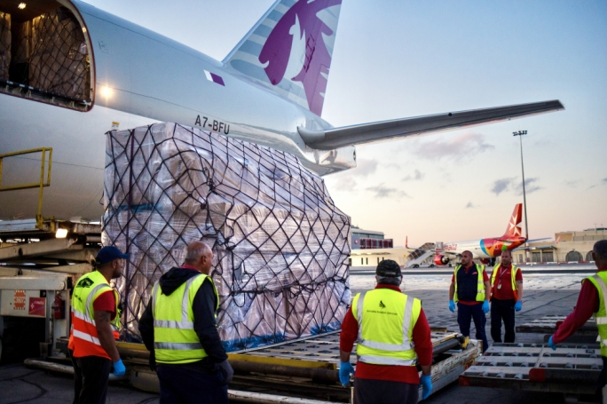 Air Malta CEO Clifford Chetcuti, assisted by staff at the Airline's Cargo Section, engaged with various international logistics operators