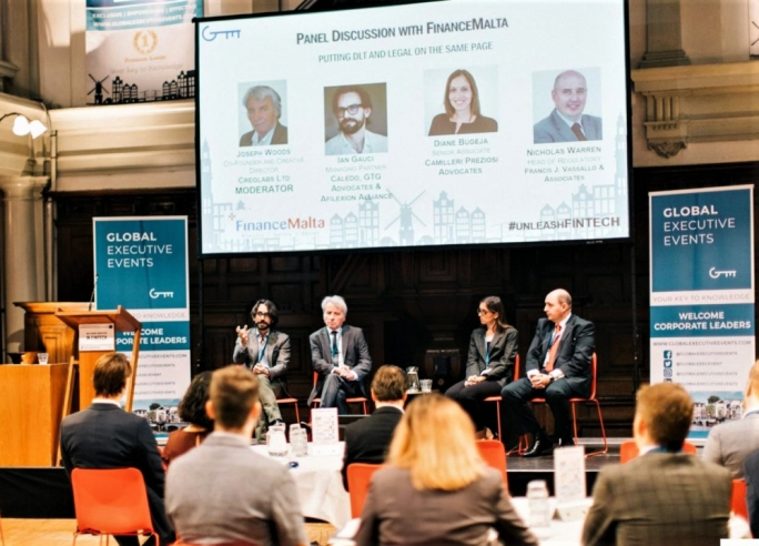Dr Ian Gauci, Joseph Woods, Dr Diane Bugeja and Nicholas Warren during the FinanceMalta panel discussion at the Amsterdam Fintech Innovation Summit held earlier this month
