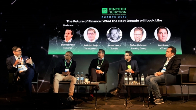 FinanceMalta Chairman Rudolph Psaila (first from left) making a point during a panel discussion at the recently-organised FinTech Junction event held in Berlin