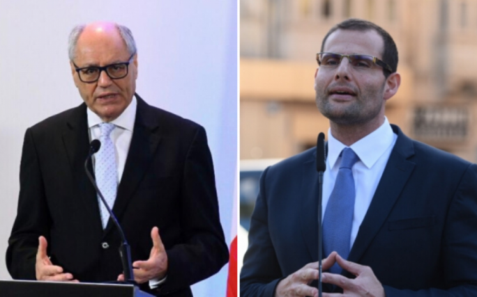 Finance Minister Edward Scicluna (left) and Labour MP Robert Abela (right)
