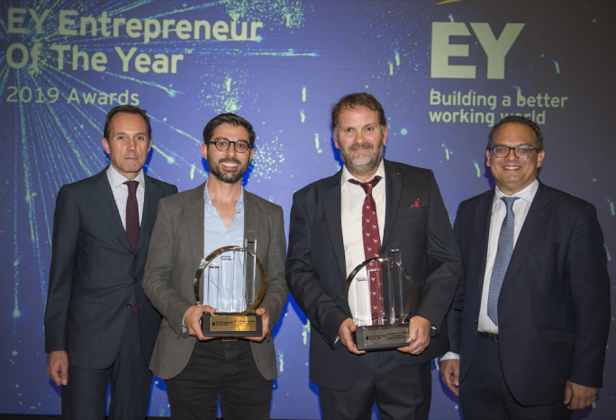 Below (from left): Harald Roesch, CEO at Melita, David Darmanin from Hotjar, Ben Remfrey from Praedium Consulting and Ron Attard, Managing Partner at EY Malta during the presentation of the Entrepreneur of the Year Awards