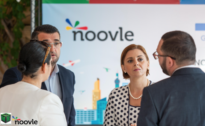 Gozo minister Justyne Caruana (second from right) attended a Cloud Summit, organised by Noovle at Castello Dei Baroni in Wardija in October 2018