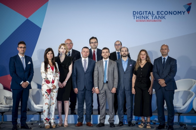 Parliamentary secretary Clayton Bartolo (fifth from left) with the members of the newly-formed Digital Economy Think Tank